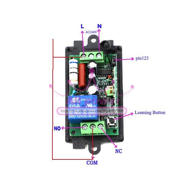 RF inalámbrico control remoto interruptor de luz 220 v sistema de interruptor de alimentación 12 2 receptor y transmisor 12CH 10A lámpara de luz LED SMD encendido apagado - 2