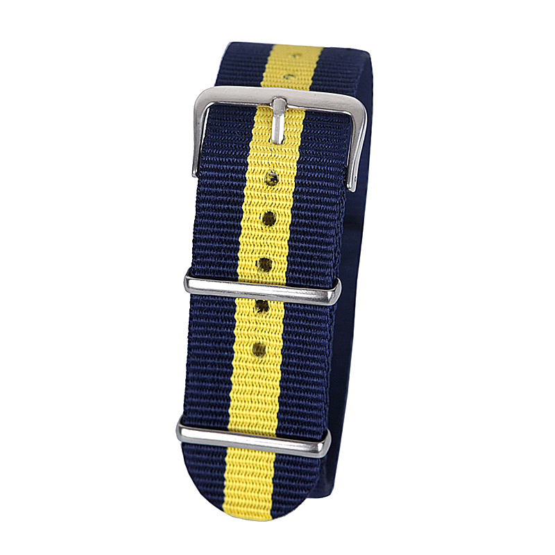 все цены на 22mm dark blue yellow dark blue Sport nato fabric watch band straps accessories Bands nylon watchband steel Buckle belt онлайн