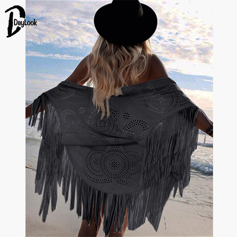 DayLook Fashion Design Faux Suede Shawl White Hollow Out Floral Cut Out Asymmetric Tassel Kimono Capes