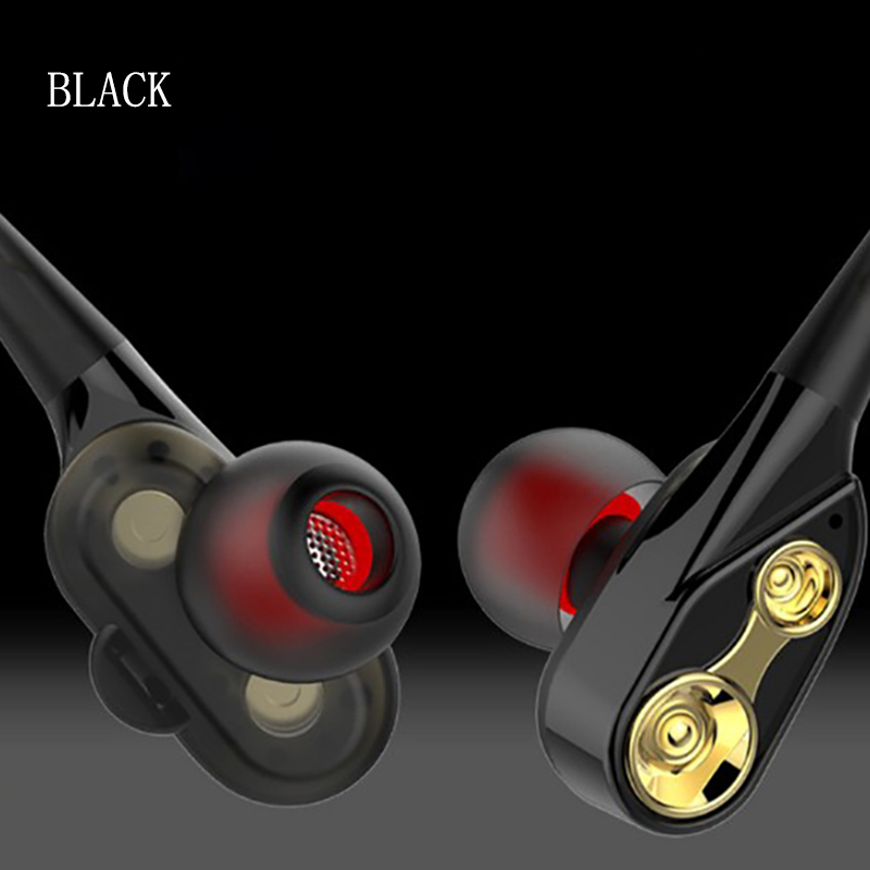 Line control earphones HD mic smart noise reduction double moving coil HIFI super bass stereo Metal material sport music headset in Phone Earphones Headphones from Consumer Electronics