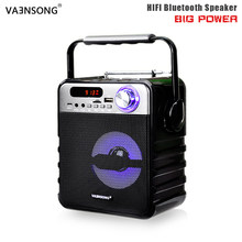 VAENSONG Big Power Bluetooth Speaker Subwoofer Heavy Bass Stereo Wireless ktv Speakers FM Radio TF USB Music Player LED Lamp(China)