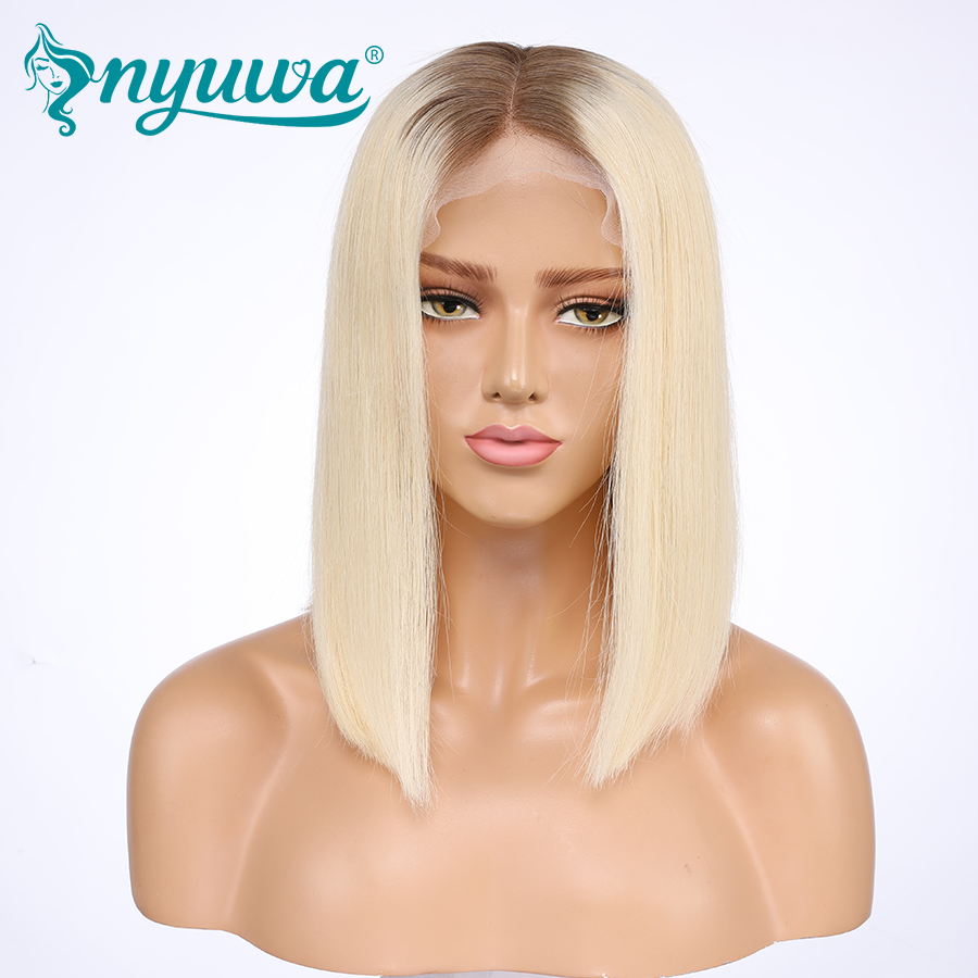 Nyuwa 4 613 Color Pre Plucked Lace Front Human Hair Wigs For Woman Straight Bob With