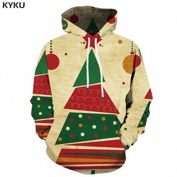 KYKU Christmas Hoodie Men Hip Hop 3d Hoodies Anime Clothes Xmas Tree Print Sweatshirt Geometric Mens Clothing Pullover Hooded elk snowflake geometric print christmas hoodie