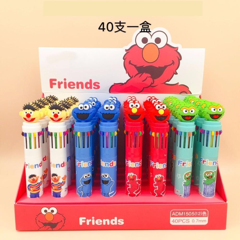 40pcs pack 12 colors multicolor ballpoint pen press ball pen cartoon sesame street children stationery gift