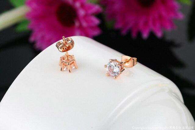 Doppio Fiera Semplice OL Style Cubic Zirconia Orecchini con perno Per Womem In Oro Rosa/Argento di Modo di Colore Dei Monili Earing Orecchino DFE035