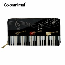 Coloranimal Man Long Wallet Leather With Coin Pocket Music Notes Women Men Luxury PU Purse Piano Keyboard Pattern Handbag