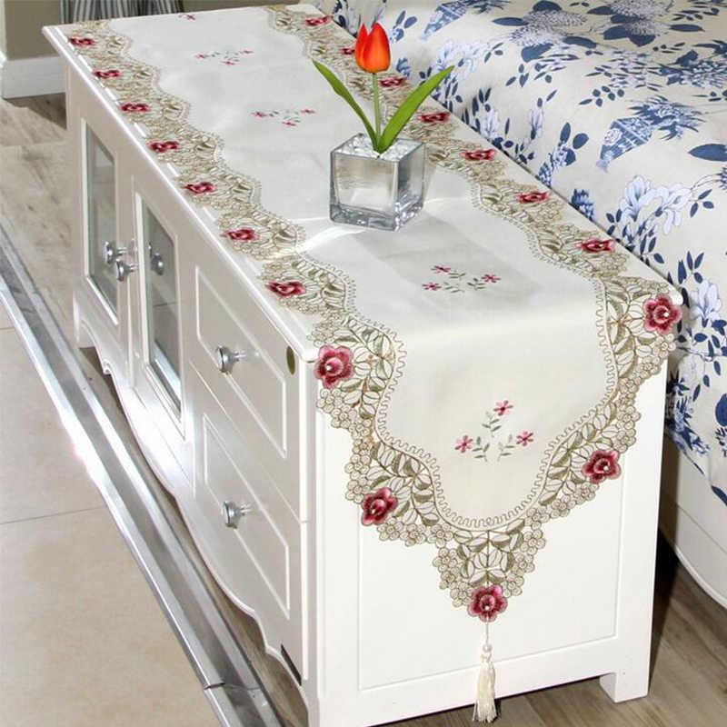 Duszpasterska tabeli Runner haftowane kwiat pozostawia pusty poliester obrusy odporna na kurz wystrój stołu dla domu wesele Pa.