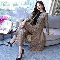 Комплект из двух предметов в полоску с широкими штанинами для женщин осень 2018 г. Корейская мода Тонкий Блейзер однобортный длинный пиджак б