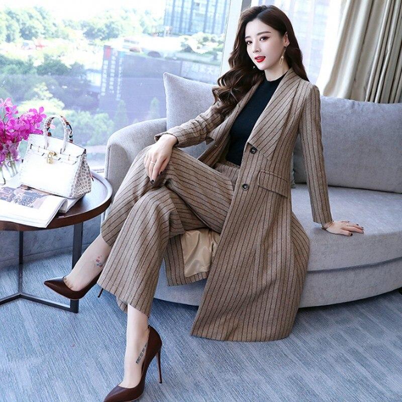 Комплект из двух предметов в полоску широкие брюки комплект для женщин осень 2018 г. Корейская мода; Слим Блейзер однобортный длинная куртка б