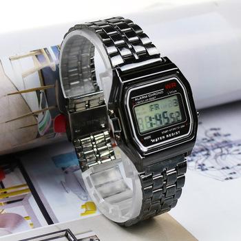 Różowe złoto srebrne zegarki męskie zegarek elektroniczny cyfrowy wyświetlacz w stylu Retro zegar męski Relogio Masculin Reloj Hombre homme tanie i dobre opinie JOYROX Stop CN (pochodzenie) 21cm Nie wodoodporne Moda casual Składane zapięcie z bezpieczeństwem Rectangle 16mm Szkło