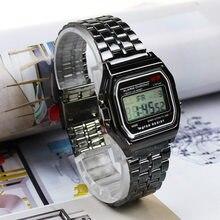 Różowe złoto srebrne zegarki mężczyźni kobiety elektroniczny wyświetlacz cyfrowy zegar w stylu Retro męska Relogio Masculin Reloj Hombre homme
