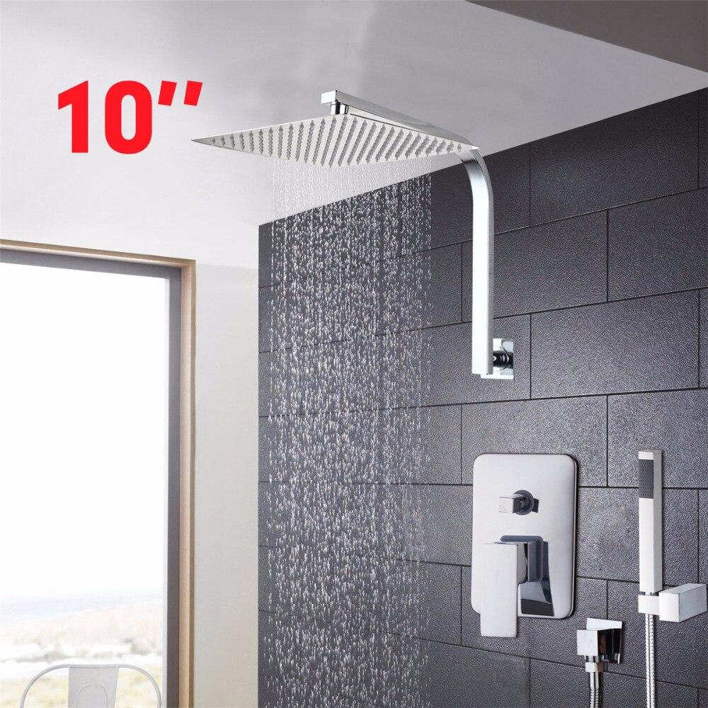 YANKSMART 10Inch Water Saving Rainfall Shower Head Hand Shower Bathroom Rainfall Shower Set Bathroom Leading ultrathin Shower yanksmart bath