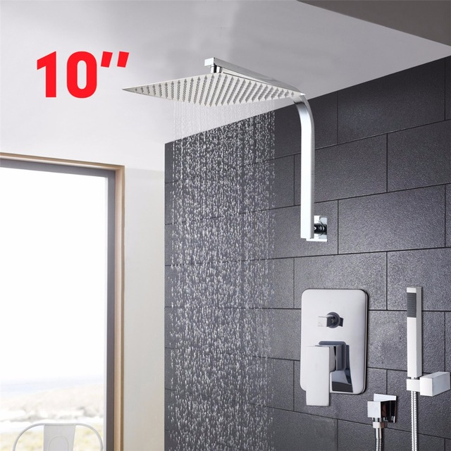 YANKSMART 10Inch Water Saving Rainfall Shower Head Hand Shower Bathroom  Rainfall Shower Set Bathroom Leading Ultrathin Amazing Ideas