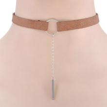 Fashion Leather Choker with Metal Pendant