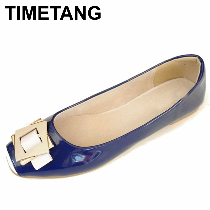 TIMETANG Sweet Spring Ladies Shoes Black Office Women Flat Shoes Patent Leather Flats Women Big Size From 33-43 All Match C091TIMETANG Sweet Spring Ladies Shoes Black Office Women Flat Shoes Patent Leather Flats Women Big Size From 33-43 All Match C091
