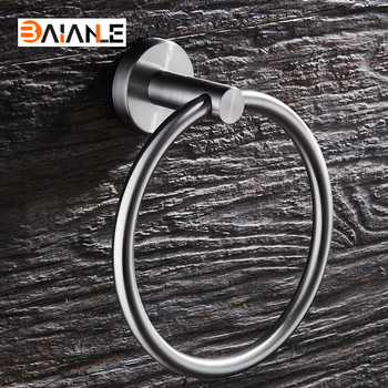 Wall Mounted Towel Holder Towel Ring Stainless Steel Brushed bath towel holder bath hardware Bathroom Accessories ofyage wall mounted 304 stainless steel brushed double towel bars towel racks towel holder bathroom products for home
