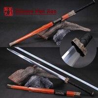 Bronce antiguo Chino Largo Espada 1065 Acero de Alto Carbono Hoja de Ocho Lados de Metal Artesanía Decoración Del Hogar