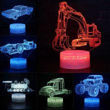 Excavator Digger Colorful Hologram LED 3D Visual Night Light Creative Table USB Novelty Illusion Lamp Kids Gift