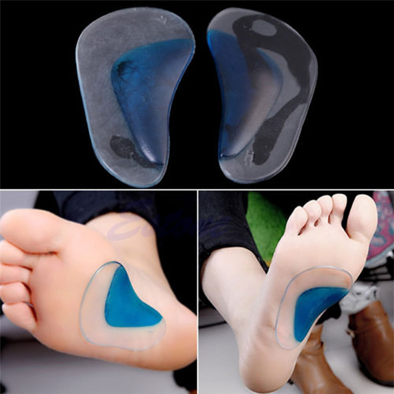 New Fashion 1 Pair Unisex Women Men High Quality Pugel Arch Flat Feet Orthotic Pain Relief Support Shoe Gel Cushion Pads Blue