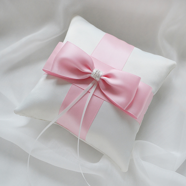 Top Quality Pink Green Wedding Ring Pillow Bow Satin Bride Pillows Handmade Event Party