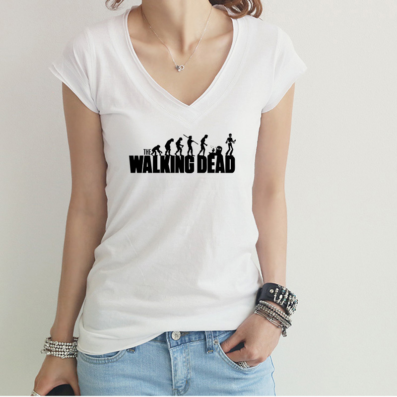Stylish the walking dead printing woman round neck tee for Nice shirts for womens