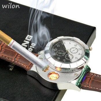 1pcs fashion rechargeable usb lighter watches electronic men s casual quartz wristwatches windproof flameless cigarette lighter.jpg 350x350