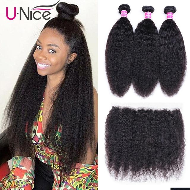 Unice Hair Kinky Straight Hair Bundles With Frontal  Remy Hair Extenison Brazilian Hair Weave 3 Bundles with Frontal