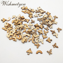 WISHMETYOU 50PCS Butterfly Rainbow Umbrella Wood Decor Scrapbooking Handmade Painting Diy Scrapbooking Wooden Slices Finding New scrapbooking diy 50