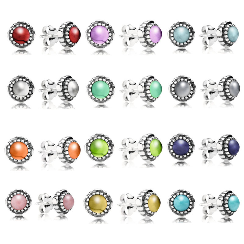 Pandora Earrings Birthstone: 12 Colors 925 Sterling Silver Pandora Earrings For Women