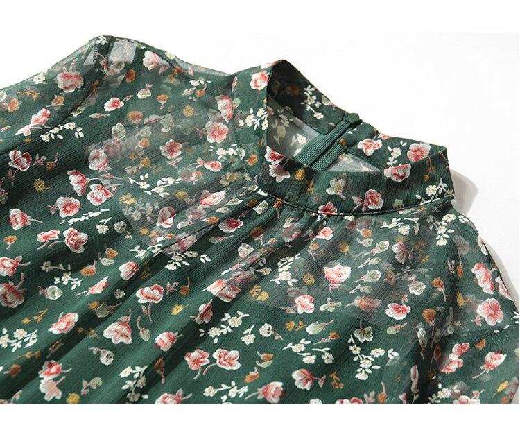 Ensemble Green longueur 2018 pièce Noir Arrivée Nouvelle Robe Moyen dark Soie Femmes Deux Printemps Floral Élégant Mince Sirène R6nqT8