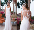 2017 Chiffon Sheath White Greek Goddess Beach Garden Wedding Dresses Lace Strap Illusion Backless Sweep Train Cheap Custom Made