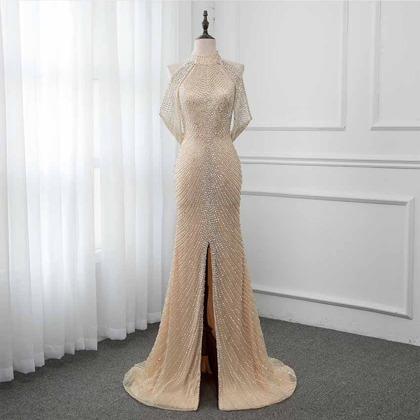 YQLNNE New 2019 Luxury Gold Beading Long Prom Dresses Halter Tulle Backless Split Front