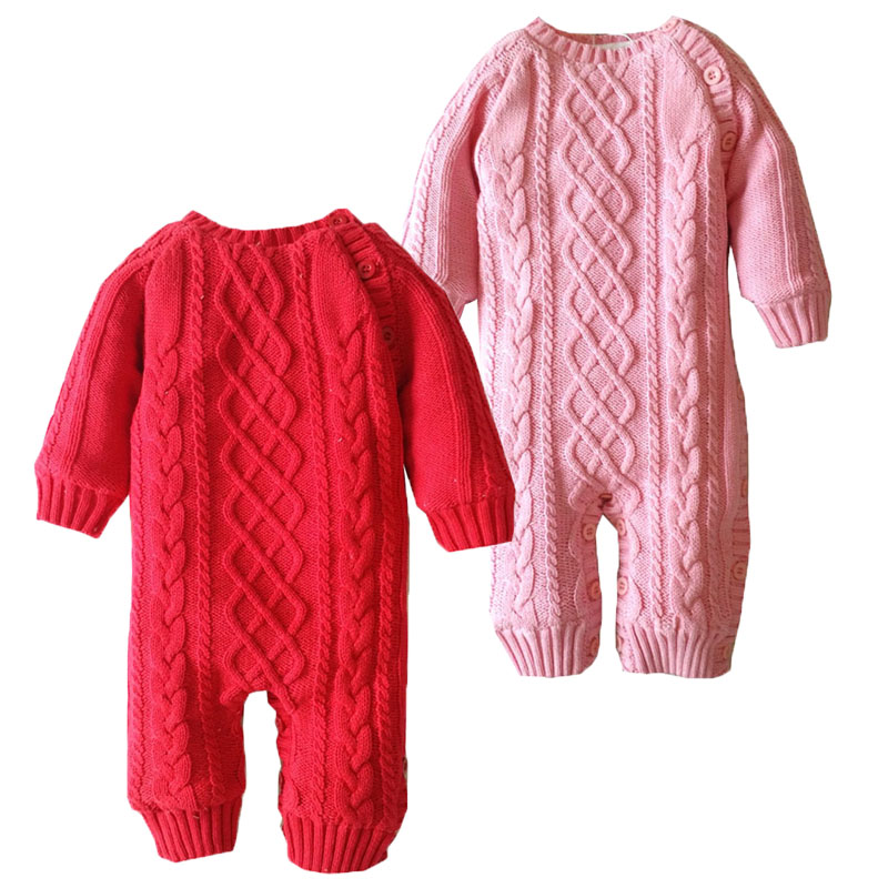 Newborn Crochet Outfits Baby Boy Girl Fleece Romper Toddler Solid Color Knit Romper Baby Christmas Warm Thicken Winter Jumpsuit lovely baby boy girl toddler newborn kid solid comfy romper soft jumpsuitth002