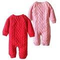Roupas de Crochê recém-nascidos Do Bebê Da Menina do Menino Fleece Romper Do Bebê do Romper Da Criança Cor Sólida Malha Engrosse Inverno Quente Natal Macacão