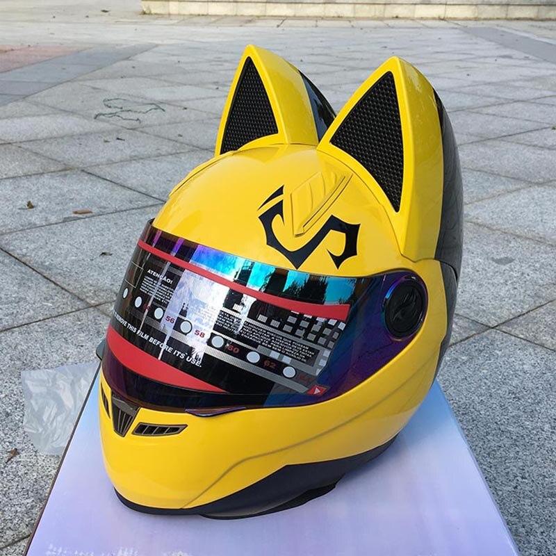 Jaune mignon avec chat oreilles moto rcycle casque course automobile anti-buée casque intégral personnalité conception capacete moto casco