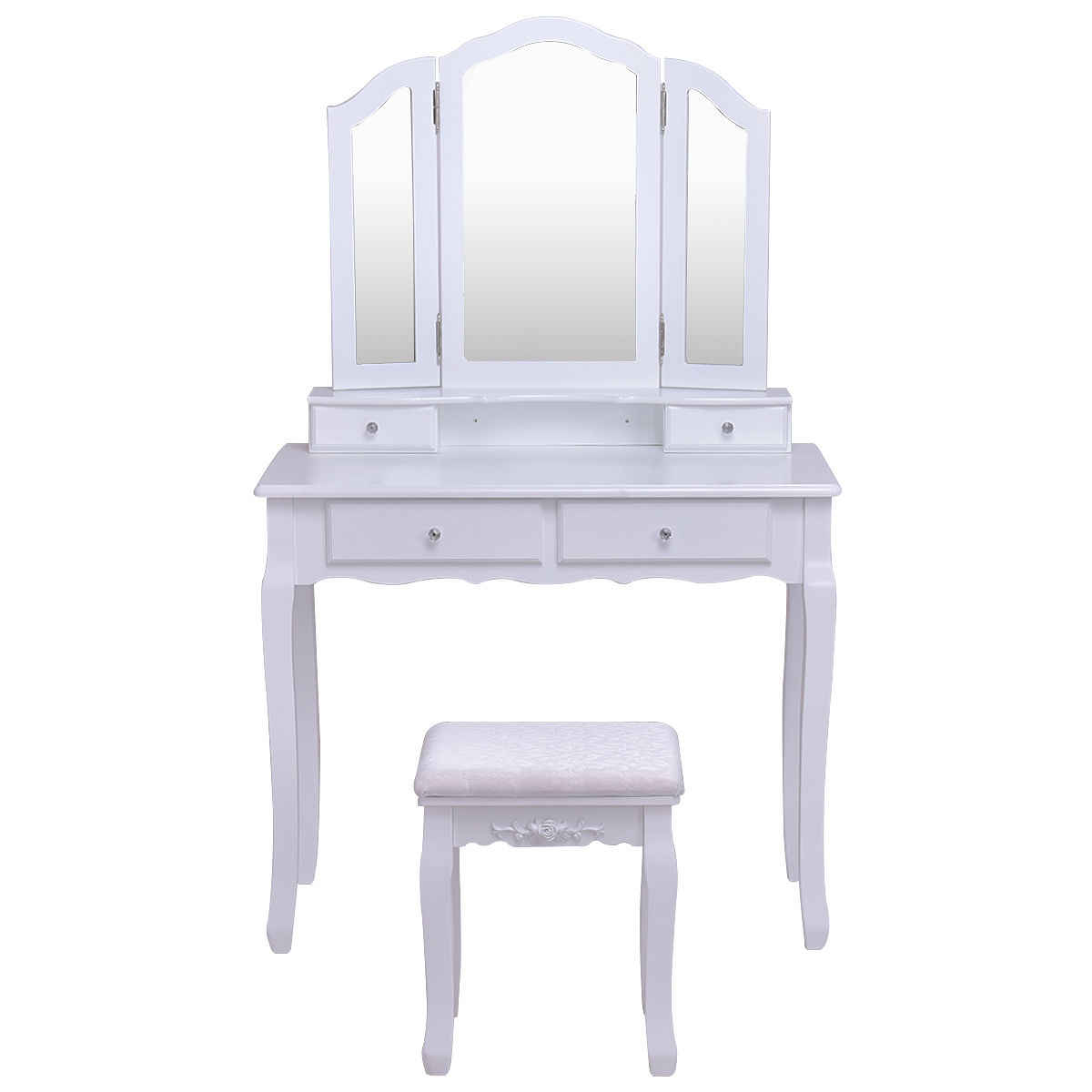 Giantex White Tri Folding Mirror Vanity Makeup Table Stool Set Home Desk With 4 Drawers Bedroom Modern Dresser HW55563WH