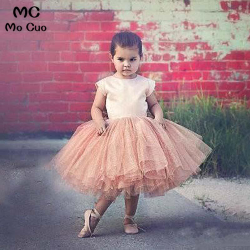 2018 Puffy Cap Sleeve Flower Girl Dress for Weddings First Communion Dresses for Girls Mother and Daughter Party Dresses