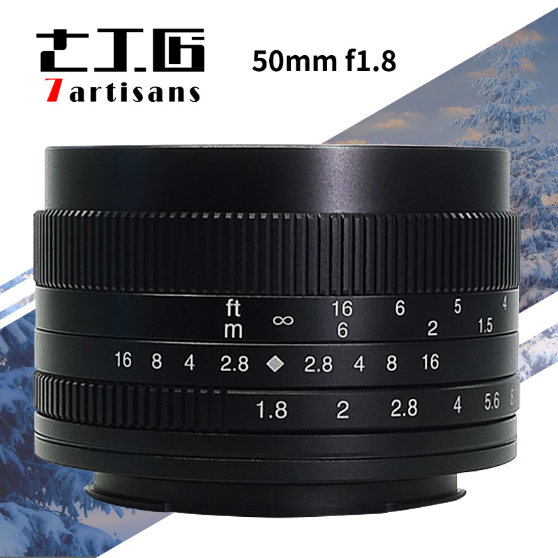 7artisans 50mm F1.8 Large Aperture manual fixed focus micro-single camera lens for canon M sony E-Mount or M4/3 Fuji-XF camera 60mm f 2 8 2 1 2x super macro manual focus lens for micro 4 3 m43 panasonic dmc gf2 gf1 g2 gf3 g5 gh4 gh3 e m5 ep 3 e pl3