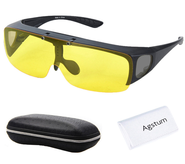 8c23730a62dd Agstum Fit Over Wrap Around Eyeglasses Prescription Glasses Polarized Night  Driving Flip up Night Vision Sunglasses Goggles