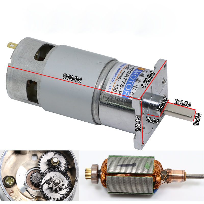 DC geared motor 12V 24V high power and large torque 775 motor CW CCW speed motor in DC Motor from Home Improvement