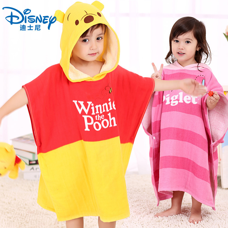 Authentic Disney 100% Cotton Hooded Cute Baby Towel Toddler Soft Cartoon Wipe Hanging Bathing Towel For Children Bathroom|Towels| |  -