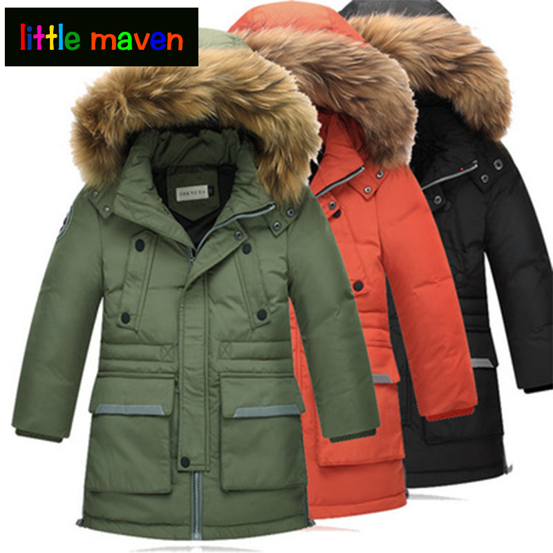 2017 Boys Winter Down Coat thicken jackets Parkas Natural Fur Cool Children Jacket Outerwear Overcoat Long Detachable Coat hijklnl 2017 new winter female cotton jacket long thicken coat casual korean style women parkas overcoat hyt002