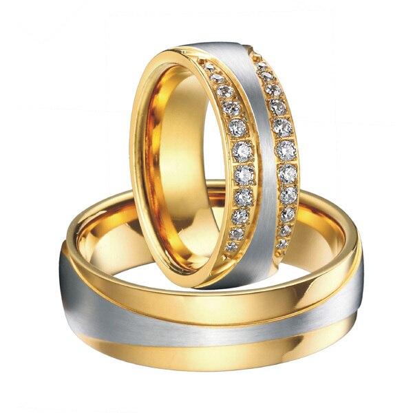 Haut de gamme luxe fait à la main couleur or santé titane acier infinité bandes de mariage anneaux ensembles 1 paire