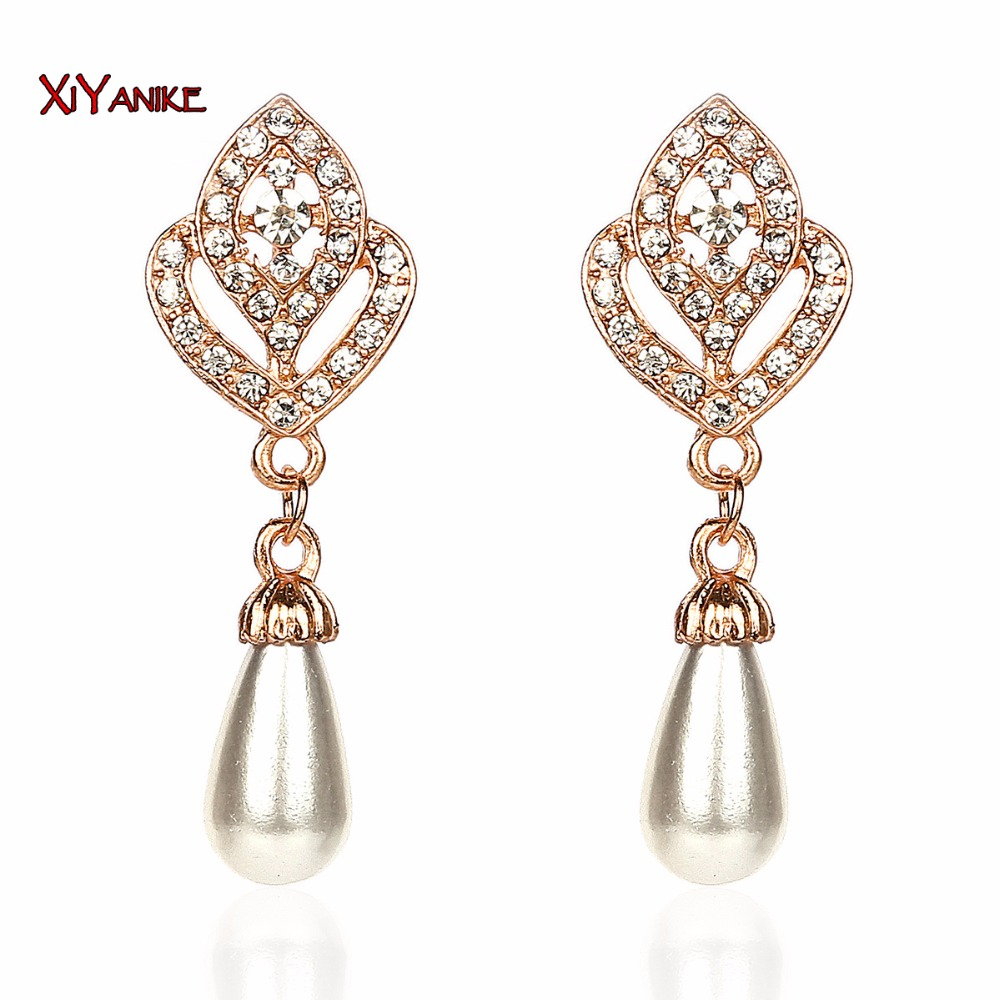 2016 New HOT !!!Korean Jewelry Hollow Sharped Rhinestone OL Pearl Temperament Earrings For Women Wholesale XY-E154