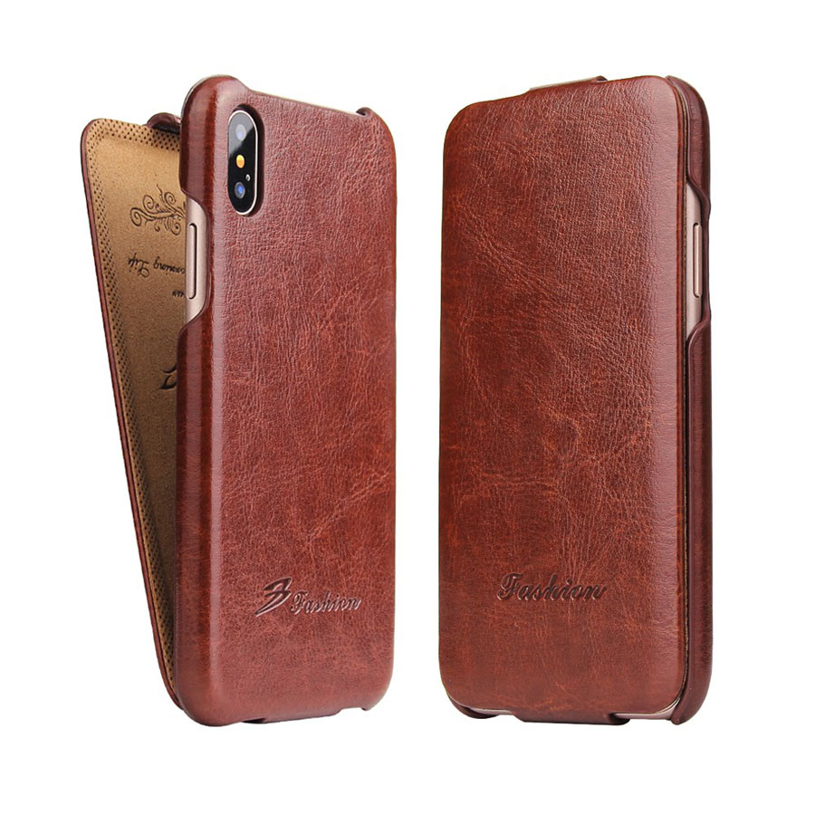 Genuine Leather Vertical Flip Cover Case for Apple <font><b>iPhone</b></font> X XS Luxury Fundas with Free Gift Screen Protector for <font><b>A1865</b></font>/A1901 image