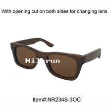 popular small brown bamboo sunglasses with opening cut for changing lenses