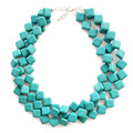 Free Shipping New Square Turquoise Stone Three Layers Choker Statement Chunky Necklace