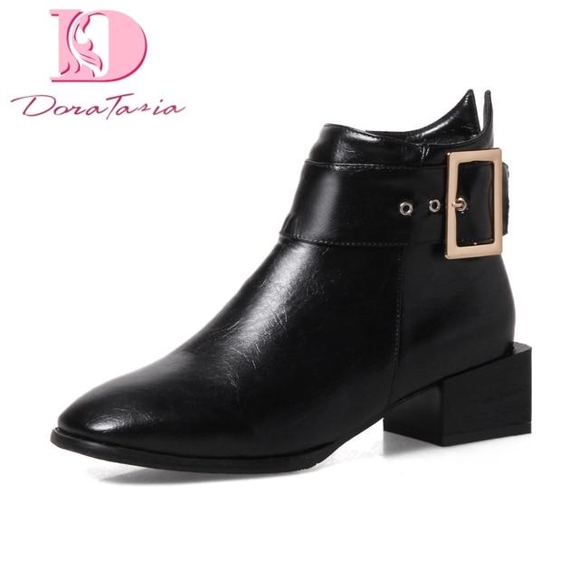 DoraTasia 2018 duży rozmiar 34-43 klamry buty damskie buty zip up kwadratowe obcasy czarne białe kostki buty buty kobieta