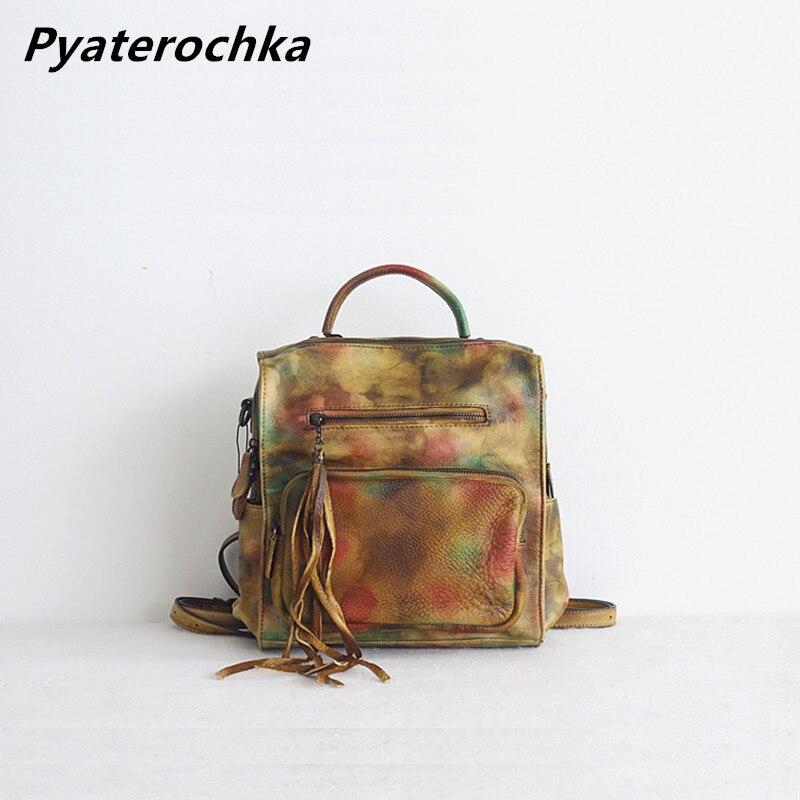 Pyaterochka sacs à dos en cuir femmes sac à main en cuir véritable sacs à bandoulière de luxe marques sac à dos décontracté filles sacs d'école 2019