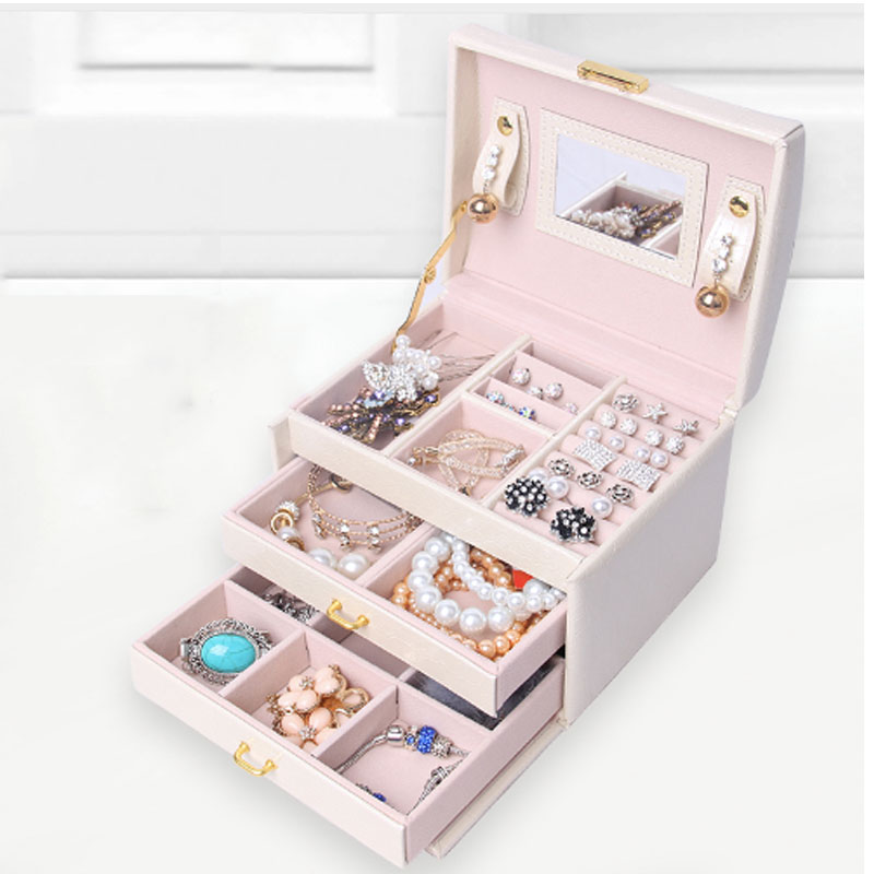 Fashion black jewelry boxes and packaging Three Layers Storage Organizer Box with mirror Leather Box for Jewelry etagere